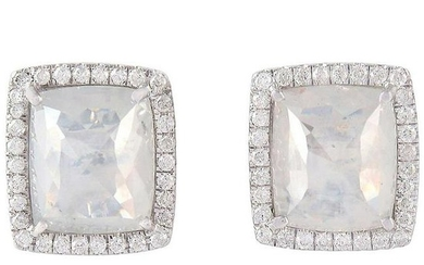 4.836 Carat Diamond 18 Karat Gold Square Stud Earrings