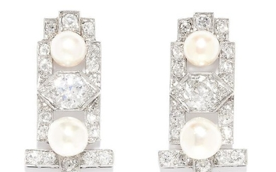 ANTIQUE ART DECO DIAMOND AND PEARL EARRINGS in 18ct