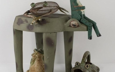 7 Pottery, Wood, Metal Frog Figures