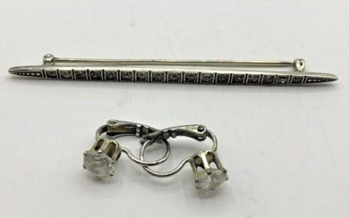 .925 Sterling Bar Pin with CZs & Costume CZ Earrings