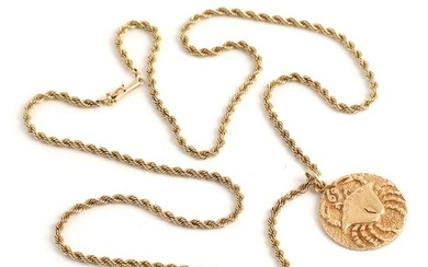 A 14k gold zodiac pendant and necklace. Pendant L. 3.2. Necklace L. 62 cm. Weight app. 27.5 g.