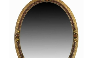 A 19th century French gilt brass and paste set mirror, bevel...