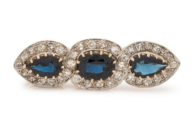 A Bicolor Gold, Sapphire and Diamond Brooch,