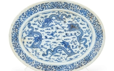 A Blue and White Porcelain 'Dragon' Plate Length 14 3/4