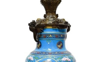 A Chinese Bronze Mounted Enamel Lamp Base, early 20th century,...