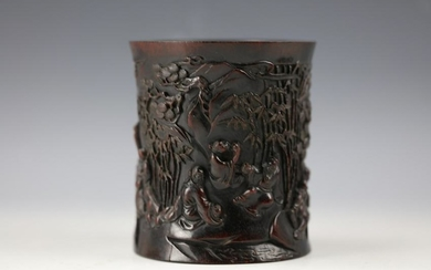 A Chinese Hard Wood Carved Brush Pot