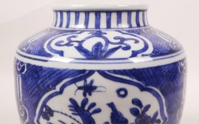 A Chinese blue and white porcelain jar with decorative panel...