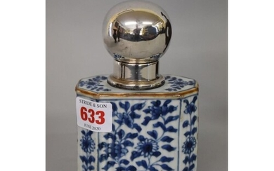 A Chinese blue and white tea canister and white metal cover,...