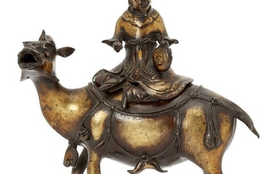A Chinese gilt-bronze 'mythical beast and rider' censer and cover,...