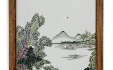 A Chinese porcelain plaque decorated in colours with riverscape with figures, boats, gardens and architecture. Republic 1912–49. 37×24 cm.