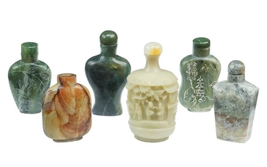 A Collection of Chinese Carved Soapstone Snuff Bottles.