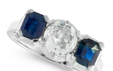 A DIAMOND AND SAPPHIRE DRESS RING in 18ct white gold