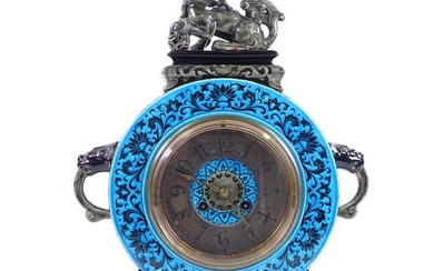 A French Aesthetic Movement Majolica Clock, turquoise and gr...