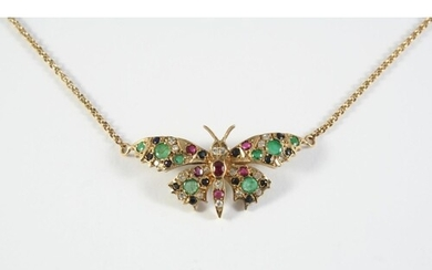 A GOLD AND GEM SET BUTTERFLY PENDANT set overall with circul...