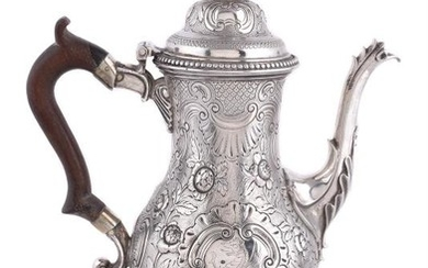 A George III silver baluster coffee pot probably by John Scofield