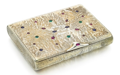 A JEWELLED SILVER-GILT CIGARETTE CASE
