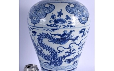 A LARGE CHINESE BLUE AND WHITE PORCELAIN DRAGON VASE 20th Ce...