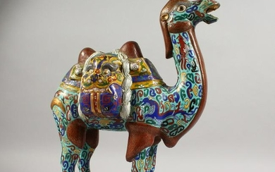A LARGE CHINESE CLOISONNE MODEL OF A CAMEL. 18ins