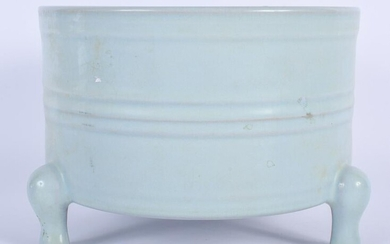 A LARGE CHINESE PALE BLUE GLAZED CENSER 20th Century.