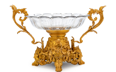A Louis XV Style Gilt Bronze and Glass Centerpiece