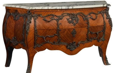 A Louis XV style rosewood marquetry commode, with...