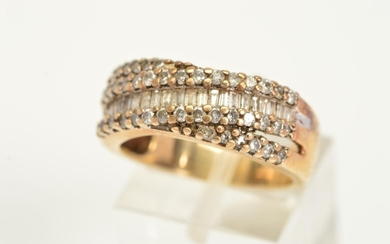 A MODERN 9CT GOLD DIAMOND DRESS RING, comprised baguette and...