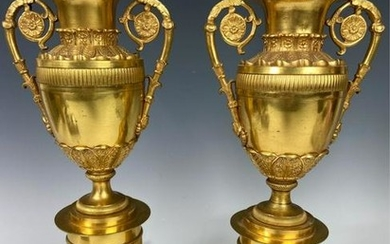 A PAIR OF 19TH C. EMPIRE STYLE ORMOLU LAMPS