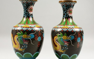A PAIR OF 20TH CENTURY CHINESE CLOISONNE DRAGON VASES,