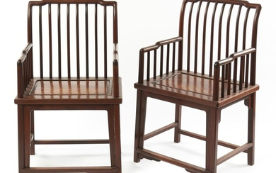 A PAIR OF CHINESE HUANGHUALI SPINDLE-BACK 'MEIGUI-YI' CHAIRS QING DYNASTY (1644-1912), CIRCA 17TH/18TH CENTURY