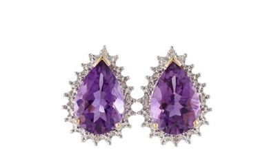 A PAIR OF DIAMOND AND AMETHYST CLUSTER EARRINGS, pear shaped...