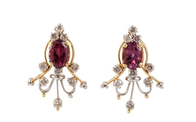 A PAIR OF DIAMOND AND TOURMALINE EARRINGS, of spray design
