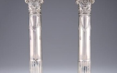 A PAIR OF GEORGE V SILVER COLUMNAR