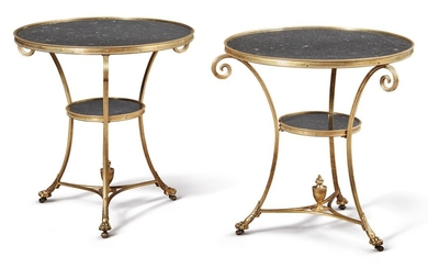 A PAIR OF LOUIS XVI STYLE GILT BRONZE AND BLACK MARBLE GUÉRIDONS