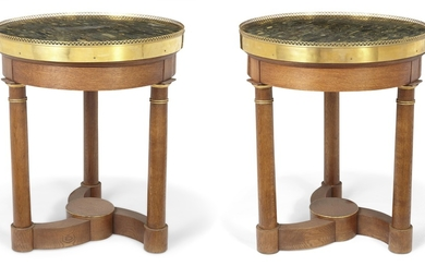 A PAIR OF ORMOLU-MOUNTED AND PARCEL-GILT OAK GUERIDONS, 20TH CENTURY