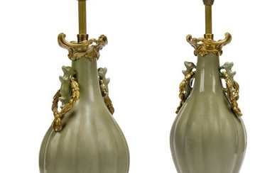 A PAIR OF ORMOLU-MOUNTED CELADON CERAMIC VASES, LATE 19TH / EARLY 20TH CENTURY