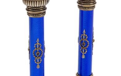 A Pair of Silver and Guilloché Enamel Candlesticks in a Fitted Case