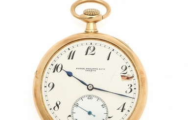 A Patek, Philippe 14k gold open-face pocket watch. C. 1900–1920. Weight 77 g. Case diam. 50 mm.