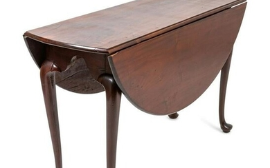 A Queen Anne Mahogany Drop-Leaf Table Height 28 x width