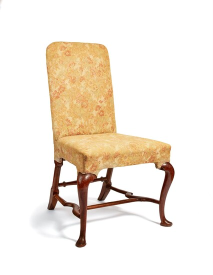 A Queen Anne walnut and upholstered side chair
