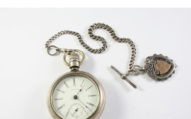 A SILVER OPEN CASED POCKET WATCH BY WALTHAM the signed white...