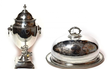 A Victorian silver-plated dish cover and an associated silver meat-dish,...