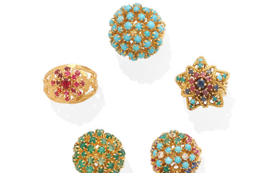 A collection of gemstone rings