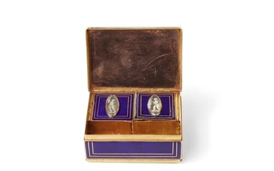 A good, gold and enamel Boite a Mouche and double opening sn...