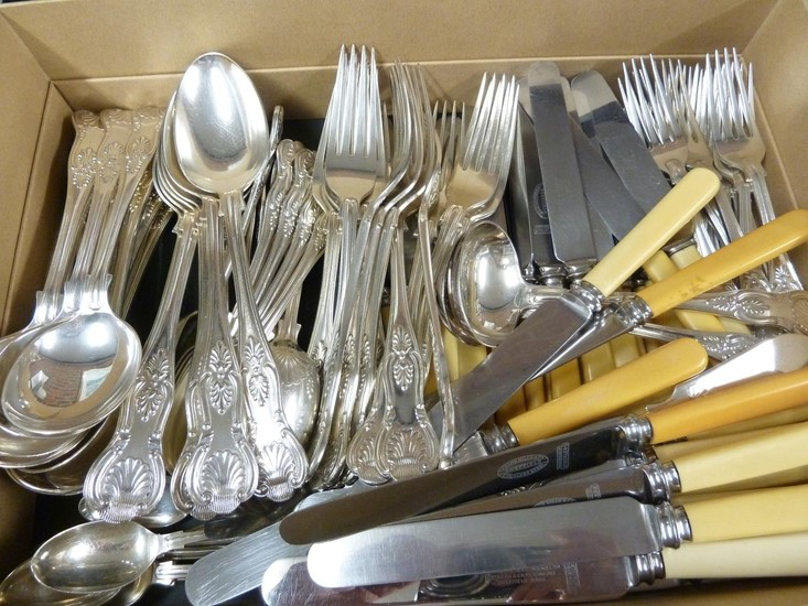 A matched silver plated cutlery service of King's Pattern, c...