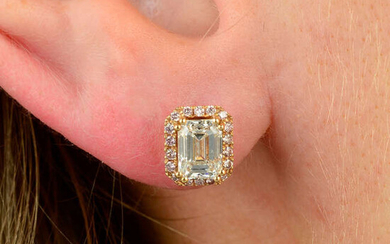 A pair of 18ct gold rectangular-shape diamond and brilliant-cut 'pink' diamond cluster earrings.