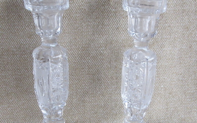 A pair of Bohemian crystal candlesticks, handmade cut, with...