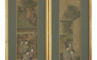 A pair of Chinese gouache paintings
