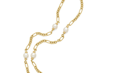 A pearl and pavé diamond station necklace