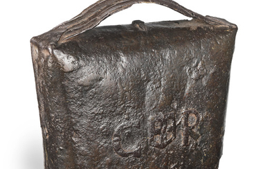 A rare and large early 17th century cow bell, date 1611