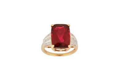 A red tourmaline and diamond ring